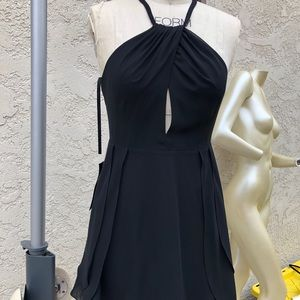 Black MIDI formal dress with slit in front top